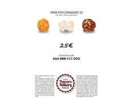 Geschenkgutschein der Popcorn Bakery 25 EUR